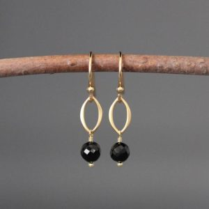 Shop Spinel Earrings! Black Spinel And Gold Earrings – Matte Gold Earrings – Small Gold Earrings – Black Gemstone Earrings | Natural genuine Spinel earrings. Buy crystal jewelry, handmade handcrafted artisan jewelry for women.  Unique handmade gift ideas. #jewelry #beadedearrings #beadedjewelry #gift #shopping #handmadejewelry #fashion #style #product #earrings #affiliate #ad