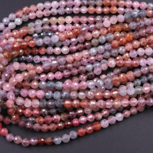 """Real Genuine Natural Spinel Faceted Round Beads 4mm 6mm Multicolor Red Pink Blue Peach Blue Green Teal Purple Gemstone 15.5"""" Strand 