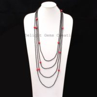 Black Spinel With Red Coral Beaded Necklace, 2mm / 6.5mm Black And Red Bead Multi Layer Endless Necklace, Faceted Beads Necklace, 100 Inch Long | Natural genuine Gemstone jewelry. Buy crystal jewelry, handmade handcrafted artisan jewelry for women.  Unique handmade gift ideas. #jewelry #beadedjewelry #beadedjewelry #gift #shopping #handmadejewelry #fashion #style #product #jewelry #affiliate #ad