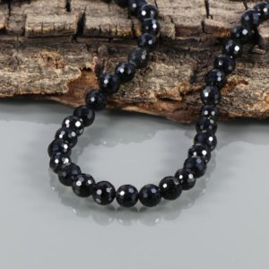 Shop Spinel Necklaces! Black Spinel Necklace, Sterling Silver Jewelry Handmade Beaded Necklace, Black Spinal 8mm Natural Black Spinel faceted round beads necklace, | Natural genuine Spinel necklaces. Buy crystal jewelry, handmade handcrafted artisan jewelry for women.  Unique handmade gift ideas. #jewelry #beadednecklaces #beadedjewelry #gift #shopping #handmadejewelry #fashion #style #product #necklaces #affiliate #ad