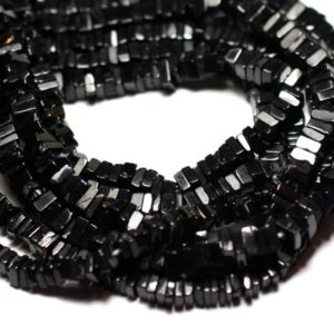 Shop Spinel Bead Shapes! Wire 40cm 230pc env – stone beads – black spinel square Heishi 3-4mm | Natural genuine other-shape Spinel beads for beading and jewelry making.  #jewelry #beads #beadedjewelry #diyjewelry #jewelrymaking #beadstore #beading #affiliate #ad