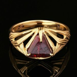 Shop Spinel Rings! Red Spinel Gold Ring Raw Crystal Burma Red Rare Unique Burmese Angel cut Gold Ring Size 7 Spinel Gift Him Her Unisex Lord of the Rings style | Natural genuine Spinel rings, simple unique handcrafted gemstone rings. #rings #jewelry #shopping #gift #handmade #fashion #style #affiliate #ad