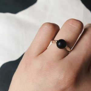 Shop Shungite Rings! Spinning Stone Silver Ring, Shungite Ring, Meditation Ring, Anxiety Ring | Black Friday Sale | Natural genuine Shungite rings, simple unique handcrafted gemstone rings. #rings #jewelry #shopping #gift #handmade #fashion #style #affiliate #ad