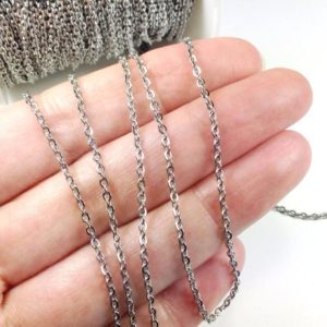 Shop Chain for Jewelry Making! Stainless Steel Chain, Bulk Chain, Jewelry Making Chain, Fine Chain, Oval Links, Hypoallergenic, 3x2mm Links, Lot Size 4 To 20 Feet, #1909 | Shop jewelry making and beading supplies, tools & findings for DIY jewelry making and crafts. #jewelrymaking #diyjewelry #jewelrycrafts #jewelrysupplies #beading #affiliate #ad