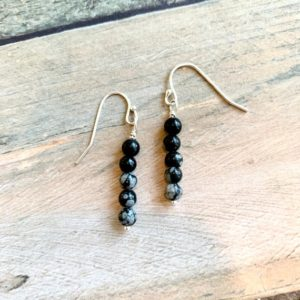 Sterling Silver and Snowflake Obsidian Earrings • Dangly Earrings • Anniversary Gift • Birthday Gift • Minimalist Jewelry • Bridesmaid Gift | Natural genuine Gemstone earrings. Buy crystal jewelry, handmade handcrafted artisan jewelry for women.  Unique handmade gift ideas. #jewelry #beadedearrings #beadedjewelry #gift #shopping #handmadejewelry #fashion #style #product #earrings #affiliate #ad
