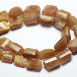 Shop Sunstone Chip & Nugget Beads! 7.5 Inch Strand Natural Sunstone Nugget Beads 8mm to 14mm Faceted Nuggets Gemstone Beads Rare Sunstone Beads Semi Precious Stone No4537 | Natural genuine chip Sunstone beads for beading and jewelry making.  #jewelry #beads #beadedjewelry #diyjewelry #jewelrymaking #beadstore #beading #affiliate #ad