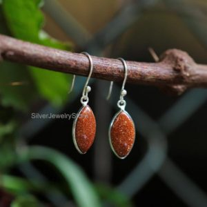 Shop Sunstone Earrings! Natural Sunstone Earrings, 925 Sterling Silver Earring, Gemstone Earrings, Sunstone 9x16mm Marquise Shape Earrings, Women Earrings, Handmade | Natural genuine Sunstone earrings. Buy crystal jewelry, handmade handcrafted artisan jewelry for women.  Unique handmade gift ideas. #jewelry #beadedearrings #beadedjewelry #gift #shopping #handmadejewelry #fashion #style #product #earrings #affiliate #ad