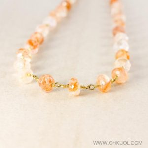 Shop Sunstone Necklaces! Beaded Peach Sunstone Necklace, Choose Your Length | Natural genuine Sunstone necklaces. Buy crystal jewelry, handmade handcrafted artisan jewelry for women.  Unique handmade gift ideas. #jewelry #beadednecklaces #beadedjewelry #gift #shopping #handmadejewelry #fashion #style #product #necklaces #affiliate #ad