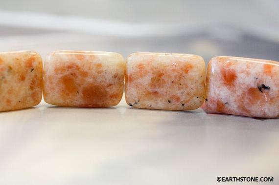Xl/ Indian Sunstone 22x30mm/ 24x28mm Flat Rectangle. Natural Orange Color Semi-precious Stone Large Size Rectangle Beads Large Drilled Hole