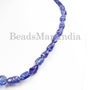 Shop Tanzanite Chip & Nugget Beads! Natural Tanzanite Plain Nugget Necklace, Natural Tanzanite Necklace, Plain Nugget Beads, Natural Tanzanite Beads, Tanzanite Plain Necklace | Natural genuine chip Tanzanite beads for beading and jewelry making.  #jewelry #beads #beadedjewelry #diyjewelry #jewelrymaking #beadstore #beading #affiliate #ad