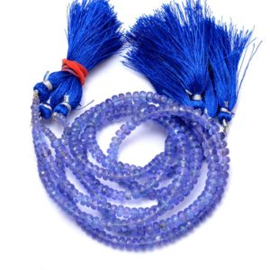 """Shop Tanzanite Faceted Beads! AAA+ Tanzanite Gemstone 3mm-5mm Faceted Rondelle Beads 