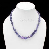 Natural Tanzanite Necklace, Tanzanite Smooth Tumble / nuggets Beads Necklace, Tanzanite Handmade Bead Jewelry, Wedding Gift, Gemstone Necklace | Natural genuine Gemstone jewelry. Buy handcrafted artisan wedding jewelry.  Unique handmade bridal jewelry gift ideas. #jewelry #beadedjewelry #gift #crystaljewelry #shopping #handmadejewelry #wedding #bridal #jewelry #affiliate #ad