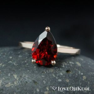 Teardrop Red Garnet Engagement Ring – Choose Your Setting | Natural genuine Array rings, simple unique alternative gemstone engagement rings. #rings #jewelry #bridal #wedding #jewelryaccessories #engagementrings #weddingideas #affiliate #ad