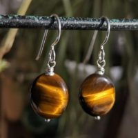Tiger Eye Earrings, Brown Gemstone Dangle Earrings, Sterling Silver, Oval Polished Tigers Eye Earrings, Unique Gifts Ashanti Jewels | Natural genuine Gemstone jewelry. Buy crystal jewelry, handmade handcrafted artisan jewelry for women.  Unique handmade gift ideas. #jewelry #beadedjewelry #beadedjewelry #gift #shopping #handmadejewelry #fashion #style #product #jewelry #affiliate #ad