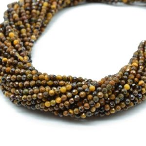 Shop Tiger Eye Rondelle Beads! Tiger Eye Faceted beads,Gemstone Rondelle Beads,Jewelry Making beads,Yellow Tiger beads,2mm-2.5mm beads,micro Faceted beads,13 inch strand, | Natural genuine rondelle Tiger Eye beads for beading and jewelry making.  #jewelry #beads #beadedjewelry #diyjewelry #jewelrymaking #beadstore #beading #affiliate #ad
