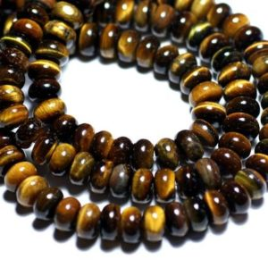 Shop Tiger Eye Rondelle Beads! 10pc – beads – Rondelle 8x5mm Tiger eye – 8741140007871 | Natural genuine rondelle Tiger Eye beads for beading and jewelry making.  #jewelry #beads #beadedjewelry #diyjewelry #jewelrymaking #beadstore #beading #affiliate #ad