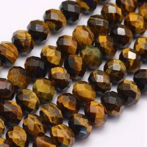Shop Tiger Eye Rondelle Beads! Tiger Eye Rondelle Beads | Faceted Natural Gemstone Loose Beads | Sold by 7 Inch Strand | Size 4x6mm 5x8mm | Hole 1mm | Natural genuine rondelle Tiger Eye beads for beading and jewelry making.  #jewelry #beads #beadedjewelry #diyjewelry #jewelrymaking #beadstore #beading #affiliate #ad