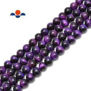 """Shop Tiger Eye Round Beads! Purple Tiger Eye Smooth Round Beads Size 6mm 8mm 10mm 15.5"""" Strand 