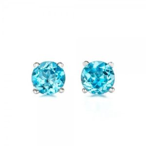 Blue topaz earrings studs 1/2 carat-Blue topaz-Natural blue topaz stud earrings-14 k white gold earnings-Birthday present-Anniversary gift | Natural genuine Topaz earrings. Buy crystal jewelry, handmade handcrafted artisan jewelry for women.  Unique handmade gift ideas. #jewelry #beadedearrings #beadedjewelry #gift #shopping #handmadejewelry #fashion #style #product #earrings #affiliate #ad