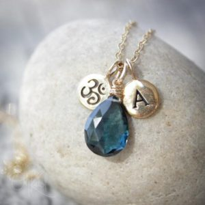 Shop Topaz Necklaces! London Blue Topaz with Letter Charm Necklace, Om Necklace, Personalized Jewelry | Natural genuine Topaz necklaces. Buy crystal jewelry, handmade handcrafted artisan jewelry for women.  Unique handmade gift ideas. #jewelry #beadednecklaces #beadedjewelry #gift #shopping #handmadejewelry #fashion #style #product #necklaces #affiliate #ad