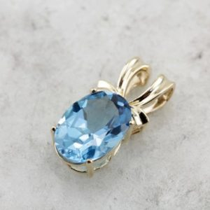 Shop Topaz Pendants! Brilliant Blue Topaz Pendant in Polished Yellow Gold  KRVNDM-D | Natural genuine Topaz pendants. Buy crystal jewelry, handmade handcrafted artisan jewelry for women.  Unique handmade gift ideas. #jewelry #beadedpendants #beadedjewelry #gift #shopping #handmadejewelry #fashion #style #product #pendants #affiliate #ad