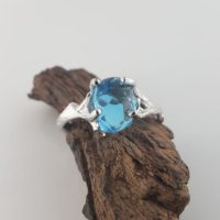 3ct Handcut Swiss Blue Topaz, 14k White Gold, Twig Engagement Ring – Raw Gemstone Jewelry Ring – Birthstone – Blue Stone Ring | Natural genuine Gemstone jewelry. Buy handcrafted artisan wedding jewelry.  Unique handmade bridal jewelry gift ideas. #jewelry #beadedjewelry #gift #crystaljewelry #shopping #handmadejewelry #wedding #bridal #jewelry #affiliate #ad