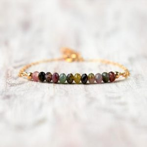 Shop Tourmaline Bracelets! Tourmaline bead bracelet gold filled October birthstone bracelet Mother gift for daughter Tourmaline crystal jewelry Simple healing jewelry | Natural genuine Tourmaline bracelets. Buy crystal jewelry, handmade handcrafted artisan jewelry for women.  Unique handmade gift ideas. #jewelry #beadedbracelets #beadedjewelry #gift #shopping #handmadejewelry #fashion #style #product #bracelets #affiliate #ad