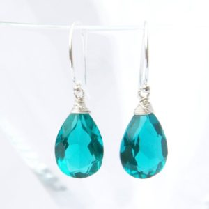 Paraiba Teal Tourmaline Drop Gemstone Earring Solid Sterling Silver Pear Dangles , October BIrthstone , Wedding , Bridal , 38th Anniversary | Natural genuine Gemstone earrings. Buy handcrafted artisan wedding jewelry.  Unique handmade bridal jewelry gift ideas. #jewelry #beadedearrings #gift #crystaljewelry #shopping #handmadejewelry #wedding #bridal #earrings #affiliate #ad