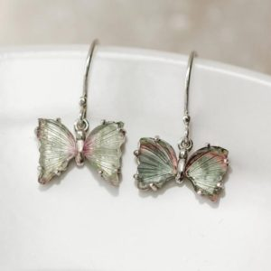 Shop Tourmaline Earrings! Teal Tourmaline Butterfly Earring,Bi Color Tourmaline, Healing Heart Chakra, Throat Chakra, Energizing Crystal, Gift For Daughter | Natural genuine Tourmaline earrings. Buy crystal jewelry, handmade handcrafted artisan jewelry for women.  Unique handmade gift ideas. #jewelry #beadedearrings #beadedjewelry #gift #shopping #handmadejewelry #fashion #style #product #earrings #affiliate #ad