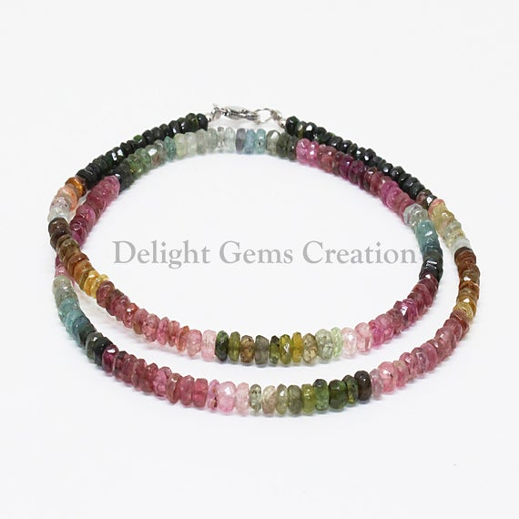 Multi Tourmaline Necklace, 4.5mm-5mm Natural Multi Color Tourmaline Faceted Rondelle Beads Necklace, Semi Precious Gemstone Engagement Gift