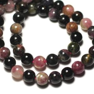 Shop Tourmaline Bead Shapes! Wire 39cm 46pc env – stone beads – multicolor Tourmaline balls 8 mm | Natural genuine other-shape Tourmaline beads for beading and jewelry making.  #jewelry #beads #beadedjewelry #diyjewelry #jewelrymaking #beadstore #beading #affiliate #ad