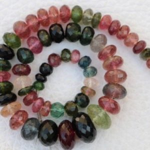Shop Tourmaline Rondelle Beads! Best Multi color 11 inch Natural Tourmaline Rondelles beads gemstone, 3×4 — 7×11 mm, natural tourmaline gems, beads gemstone, best quality | Natural genuine rondelle Tourmaline beads for beading and jewelry making.  #jewelry #beads #beadedjewelry #diyjewelry #jewelrymaking #beadstore #beading #affiliate #ad