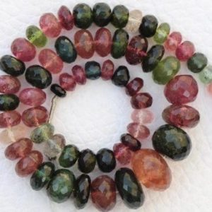 Shop Tourmaline Rondelle Beads! Best Multi color 11 inch Natural Tourmaline Rondelles beads gemstone, 2×4 — 8×12 mm, natural tourmaline gems, beads gemstone, best quality | Natural genuine rondelle Tourmaline beads for beading and jewelry making.  #jewelry #beads #beadedjewelry #diyjewelry #jewelrymaking #beadstore #beading #affiliate #ad