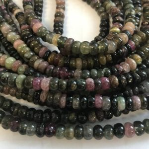 Shop Tourmaline Rondelle Beads! Natural Tourmaline 5×3-4mm Roundell Beads–7.5 Inch , tourmaline Bead / gemstone Beads-01 | Natural genuine rondelle Tourmaline beads for beading and jewelry making.  #jewelry #beads #beadedjewelry #diyjewelry #jewelrymaking #beadstore #beading #affiliate #ad