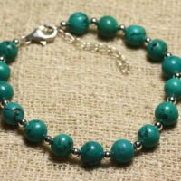 Bracelet 925 Sterling Silver And Natural 8mm Turquoise Stone Beads | Natural genuine Gemstone jewelry. Buy crystal jewelry, handmade handcrafted artisan jewelry for women.  Unique handmade gift ideas. #jewelry #beadedjewelry #beadedjewelry #gift #shopping #handmadejewelry #fashion #style #product #jewelry #affiliate #ad