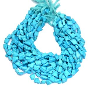 Shop Turquoise Chip & Nugget Beads! Chinese Turquoise 11mm-14mm Faceted Nuggets Beads | Blue Turquoise Gemstone Loose Step Cut Tumbled | Semi Precious Turquoise Faceted Beads | Natural genuine chip Turquoise beads for beading and jewelry making.  #jewelry #beads #beadedjewelry #diyjewelry #jewelrymaking #beadstore #beading #affiliate #ad