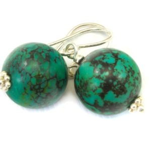 Shop Turquoise Earrings! Turquoise Earrings Green Round Dangle Drops Sterling Silver or 14k solid Gold or Filled Natural Veining Large Dark Veining Accents Simple | Natural genuine Turquoise earrings. Buy crystal jewelry, handmade handcrafted artisan jewelry for women.  Unique handmade gift ideas. #jewelry #beadedearrings #beadedjewelry #gift #shopping #handmadejewelry #fashion #style #product #earrings #affiliate #ad
