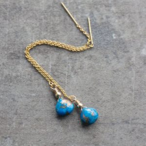 Turquoise Earrings, Threader Earrings, Chain Earrings, Turquoise Jewelry, Dangle Earrings, December Birthstone, Gold Filled Earrings | Natural genuine Gemstone jewelry. Buy crystal jewelry, handmade handcrafted artisan jewelry for women.  Unique handmade gift ideas. #jewelry #beadedjewelry #beadedjewelry #gift #shopping #handmadejewelry #fashion #style #product #jewelry #affiliate #ad