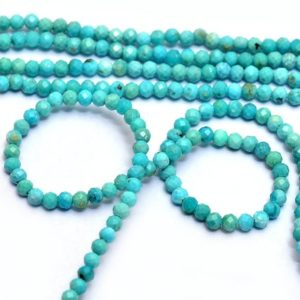Shop Turquoise Faceted Beads! AAA+ Turquoise 2mm Micro Faceted Rondelle Beads | 13inch Strand | Natural Arizona Blue Turquoise Semi Precious Gemstone Roundel Loose Beads | Natural genuine faceted Turquoise beads for beading and jewelry making.  #jewelry #beads #beadedjewelry #diyjewelry #jewelrymaking #beadstore #beading #affiliate #ad