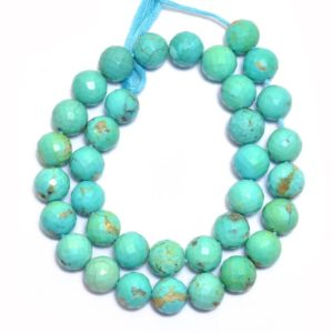 Shop Turquoise Faceted Beads! Natural Turquoise Gemstone 10mm Round Faceted Beads | Arizona Blue Turquoise Semi Precious Gemstone Loose Beads for Jewelry – AAA Quality | Natural genuine faceted Turquoise beads for beading and jewelry making.  #jewelry #beads #beadedjewelry #diyjewelry #jewelrymaking #beadstore #beading #affiliate #ad
