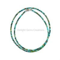 Genuine Turquoise Necklace, 2 Mm Turquoise Micro Faceted Round Beads Necklace, Green-blue Turquoise Beaded Necklace, Minimalist Necklace | Natural genuine Gemstone jewelry. Buy crystal jewelry, handmade handcrafted artisan jewelry for women.  Unique handmade gift ideas. #jewelry #beadedjewelry #beadedjewelry #gift #shopping #handmadejewelry #fashion #style #product #jewelry #affiliate #ad