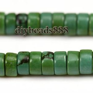 """Shop Turquoise Bead Shapes! Green Turquoise Heishi beads,spacer beads,wheel beads,Turquoise,deep green color,natural,gemstone,2x4mm 3x6mm for choice,15"""" full strand 