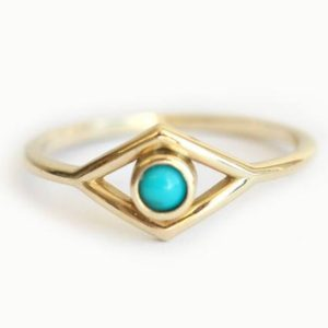 Evil Eye Ring, Thin Turquoise Ring, 14k Yellow Gold Turquoise Statement Ring | Natural genuine Gemstone rings, simple unique handcrafted gemstone rings. #rings #jewelry #shopping #gift #handmade #fashion #style #affiliate #ad