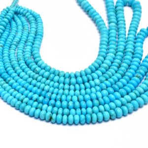 AAA+ Sleeping Beauty Turquoise Gemstone 3mm-6mm Smooth Rondelle Beads | 16inch Strand | Natural Turquoise Precious Gemstone Loose Beads | Natural genuine beads Array beads for beading and jewelry making.  #jewelry #beads #beadedjewelry #diyjewelry #jewelrymaking #beadstore #beading #affiliate #ad