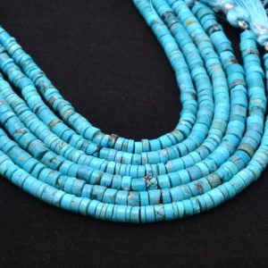 Shop Turquoise Rondelle Beads! Natural Turquoise Gemstone 5mm-6mm Heishi Smooth Spacer Beads   8inch Strand   Arizona Blue Turquoise Semi Precious Gemstone Tyre Rondelles   Natural genuine rondelle Turquoise beads for beading and jewelry making.  #jewelry #beads #beadedjewelry #diyjewelry #jewelrymaking #beadstore #beading #affiliate #ad