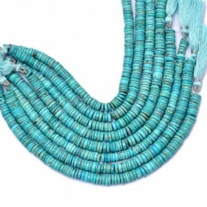 Shop Turquoise Rondelle Beads! Natural Turquoise Gemstone 6mm-8mm Heishi Smooth Beads   8inch Strand   Arizona Turquoise Semi Precious Gemstone Disc / Tyre Rondelle Beads   Natural genuine rondelle Turquoise beads for beading and jewelry making.  #jewelry #beads #beadedjewelry #diyjewelry #jewelrymaking #beadstore #beading #affiliate #ad