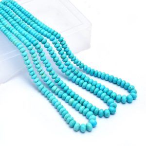 Natural Sleeping Beauty Turquoise Gemstone 3mm-6mm Smooth Rondelle Beads | 16inch Strand | Natural Turquoise Precious Gemstone Loose Beads | Natural genuine beads Array beads for beading and jewelry making.  #jewelry #beads #beadedjewelry #diyjewelry #jewelrymaking #beadstore #beading #affiliate #ad