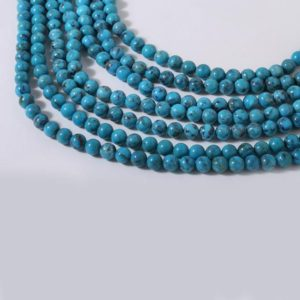 Shop Turquoise Round Beads! American Turquoise Plain Round Beads Strands  Approx 4 mm, Length 40 CM | Natural genuine round Turquoise beads for beading and jewelry making.  #jewelry #beads #beadedjewelry #diyjewelry #jewelrymaking #beadstore #beading #affiliate #ad