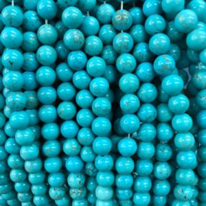 Shop Turquoise Round Beads! Blue Turquoise Beads, Natural Gemstone Beads, Round Loose Stone Beads 4mm 6mm 8mm 10mm 12mm 15'' | Natural genuine round Turquoise beads for beading and jewelry making.  #jewelry #beads #beadedjewelry #diyjewelry #jewelrymaking #beadstore #beading #affiliate #ad