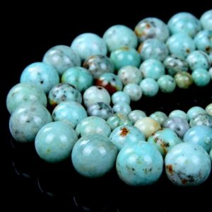 Genuine 100% Natural Green Blue Peruvian Chrysocolla Turquoise Gemstone Grade AAA Round 6mm 8mm 10mm 12mm Loose Beads (A292) | Natural genuine round Turquoise beads for beading and jewelry making.  #jewelry #beads #beadedjewelry #diyjewelry #jewelrymaking #beadstore #beading #affiliate #ad